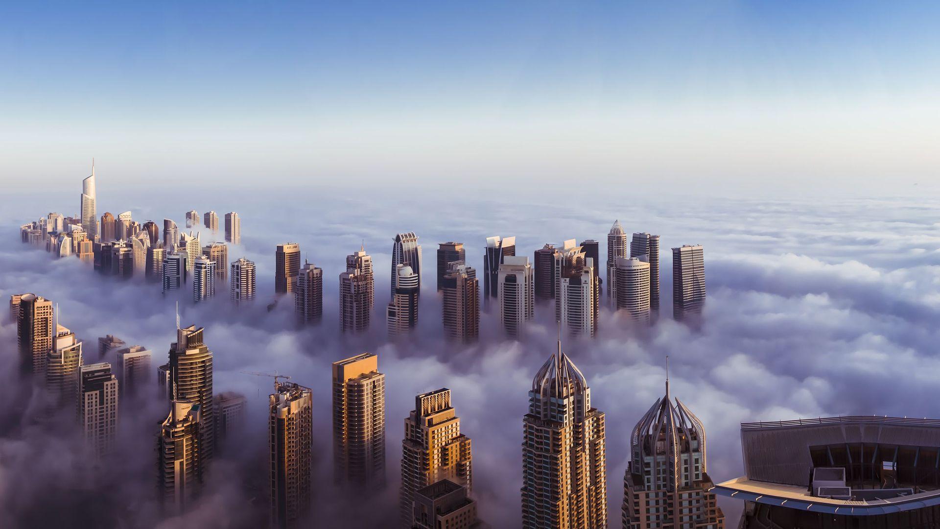 Dubai in clouds